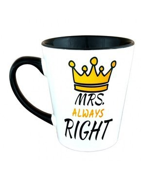 Kubek latte z czarnym uszkiem - MRS Always RIGHT - Korona
